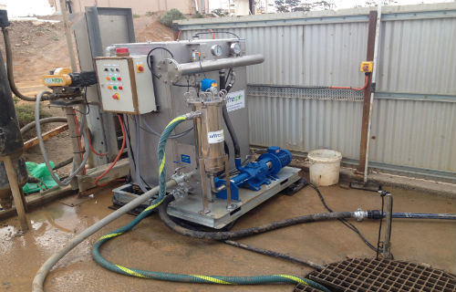 Rental Oil Water separator on gold mine HV wash